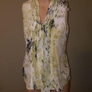 Ann Taylor green silk sleeveless top size 2 P